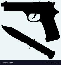 gun and knife sillhouette.